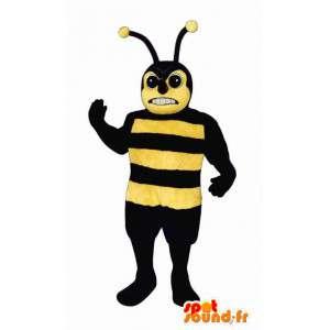Mascotte de guêpe jaune et noir. Costume de guêpe