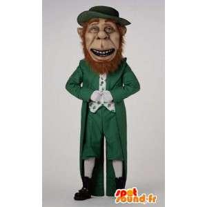Vihreä ja valkoinen Irlannin leprechaun maskotti - MASFR004538 - joulun Maskotteja