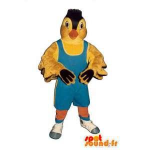 Mascotte d'oiseau jaune. Costume de canari