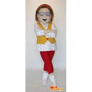 眼鏡をかけたマスコットの女性。女性コスチューム-MASFR004557-女性マスコット