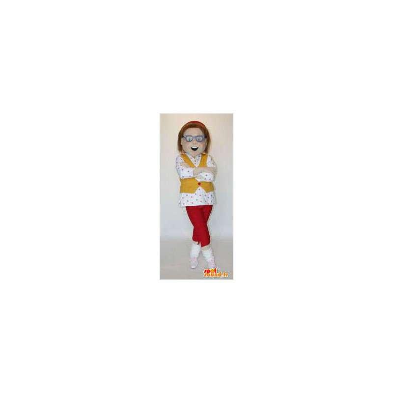 Mascot woman with glasses. Woman's costume - MASFR004557 - Mascots woman