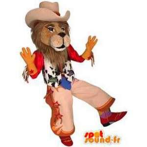 Mascotte de lion habillé en cow-boy. Costume de cow-boy