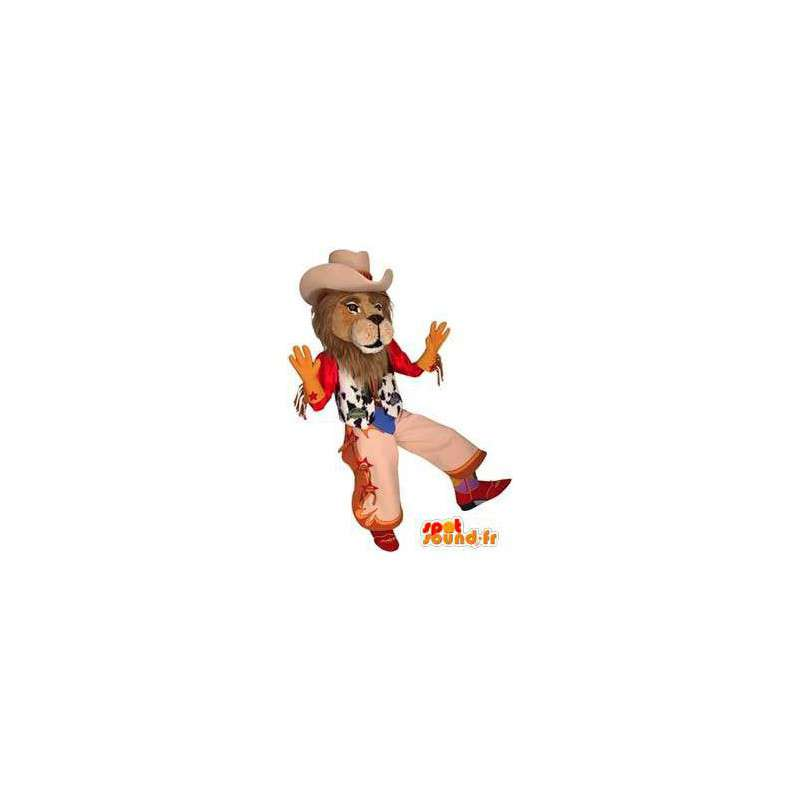 Lion mascot dressed as a cowboy. Cowboy costume - MASFR004562 - Lion mascots