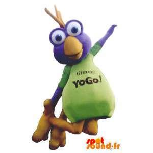 Mascot fun all colored bird. Bird cartoon costume