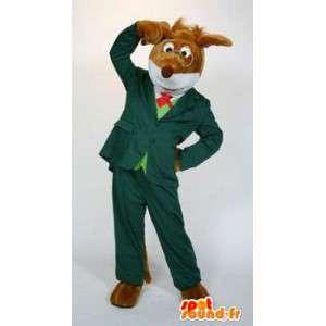 Maskottchen-Hund im grünen Anzug mit Brille gekleidet - MASFR004601 - Hund-Maskottchen