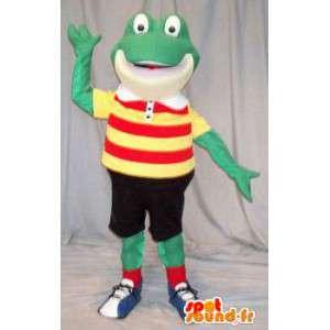 Mascot frog holding football. Frog costume - MASFR004607 - Mascots frog