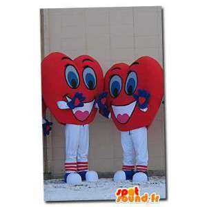 Mascots shaped hearts. Pack of 2 costumes heart