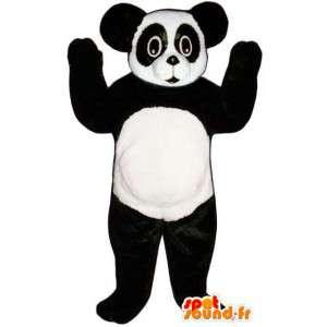 Mascotte de panda noir et blanc. Déguisement de panda