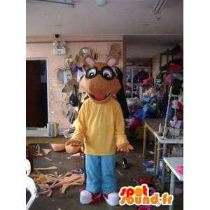 Mascotte de souris marron façon dessin animé
