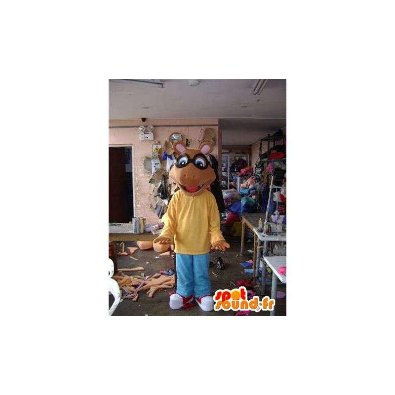 Mascotte de souris marron façon dessin animé - MASFR004652 - Mascotte de souris
