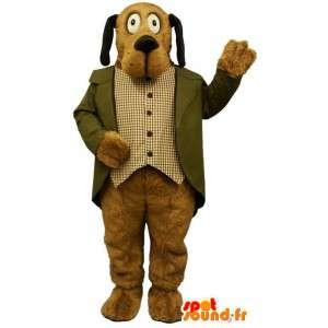 Mascot perro marrón con un esmoquin.Traje del perro - MASFR004675 - Mascotas perro