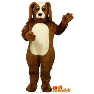 Mascotte de chien marron et blanc. Costume de chien en peluche - MASFR004676 - Mascottes de chien
