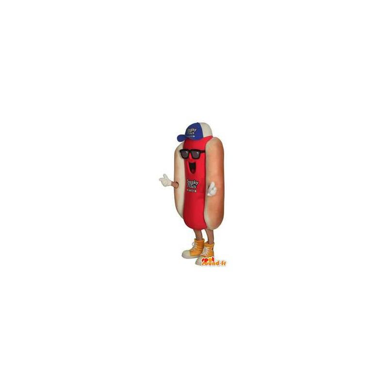 Mascot hot dog with hat and sunglasses - MASFR004689 - Fast food mascots
