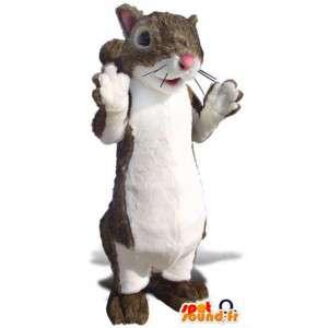 Maskotti ruskea ja valkoinen orava. orava Suit - MASFR004692 - maskotteja orava