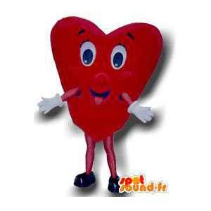 Maskot ve tvaru červené srdce. srdce oblek - MASFR004693 - Neutajované Maskoti