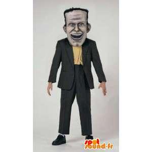 Mascotte de Frankenstein en costume noir. Frankenstein