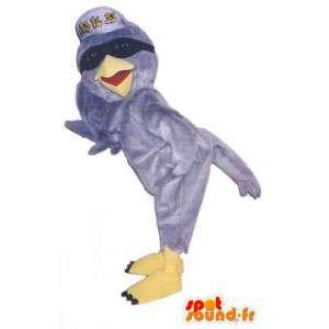 Grauer Vogel Maskottchen mit einem Hut und Brille