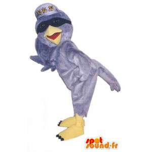 Mascot pássaro cinzento com um tampão e óculos