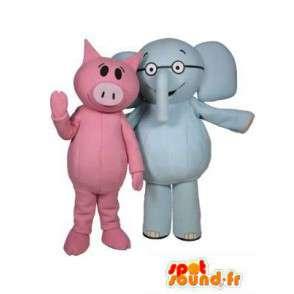 Maskottchen-Schwein rosa und blauen Elefanten.Packung mit 2 - MASFR004721 - Maskottchen Schwein