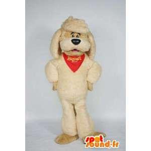 Beige hond mascotte met een bandana en hoed - MASFR004738 - Dog Mascottes