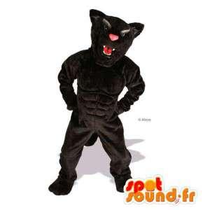 Tiger-Maskottchen / schwarzen Hund muskulös.Tiger-Kostüm - MASFR004758 - Hund-Maskottchen