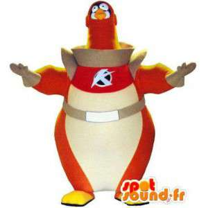 Bird mascot astronaut. Costume bird cosmonaut