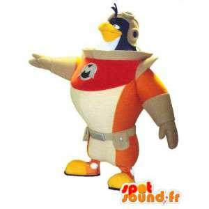Mascot astronauta pájaro.Traje de pingüino cosmonauta