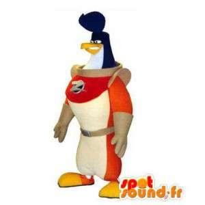 Penguin mascot astronaut. Costume bird cosmonaut