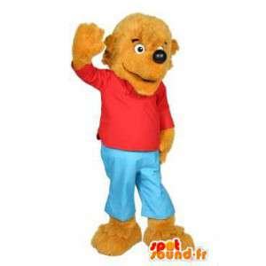 Cão mascote vestida de azul e vermelho - MASFR004773 - Mascotes cão