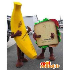 Mascottes banaan en gigantische sandwich. Pak van 2