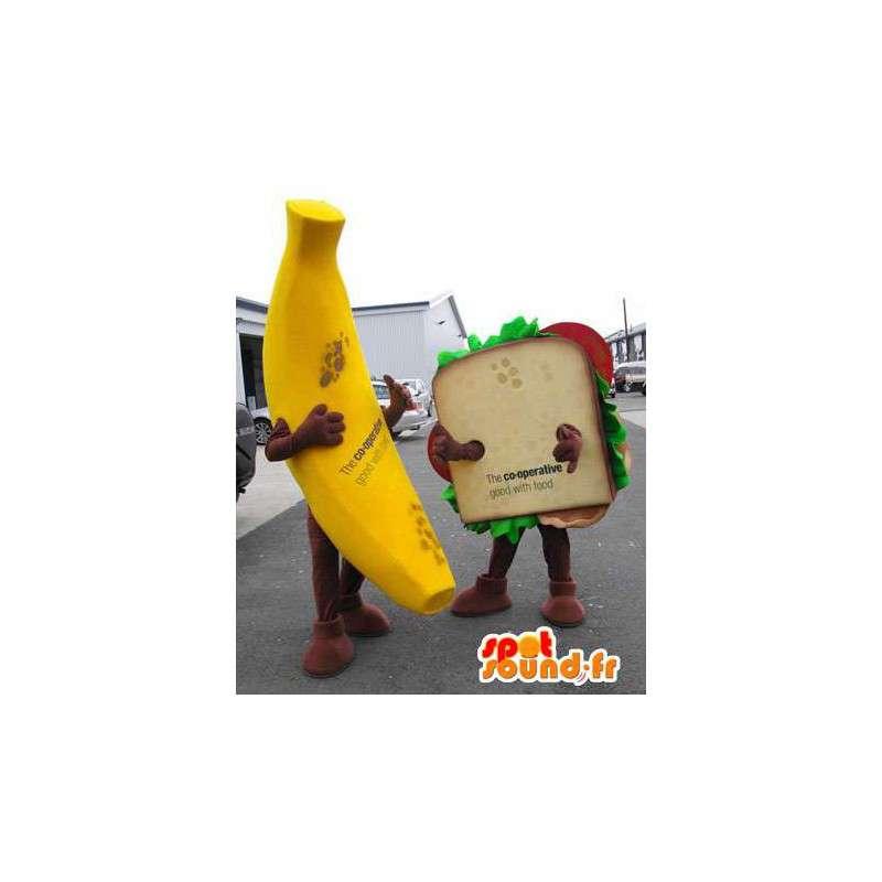 Maskoti banán a obří sendvič. Pack 2 - MASFR004787 - fruit Maskot