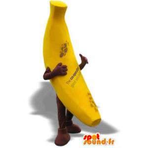 Mascotte de banane jaune géante. Costume de banane