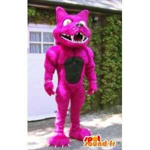 Vaaleanpunainen kissa maskotti jättiläinen kokoa. kissa perässä