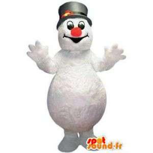 Mascotte pupazzo di neve bianco con un cappello nero - MASFR004802 - Umani mascotte