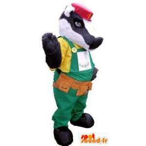 Raccoon Maskottchen Arbeiter - Anpassbare