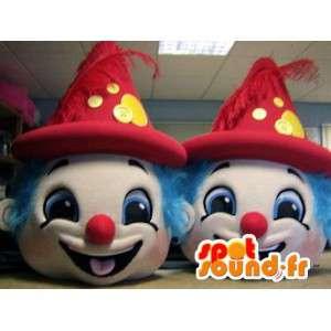 Mascottes kleurrijke clown hoofden. Pak van 2