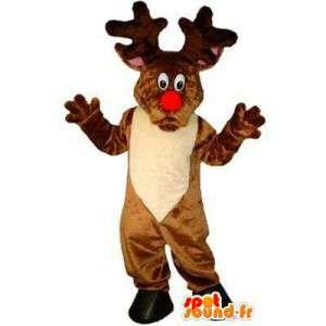 Mascot reno de Santa Claus con una nariz roja