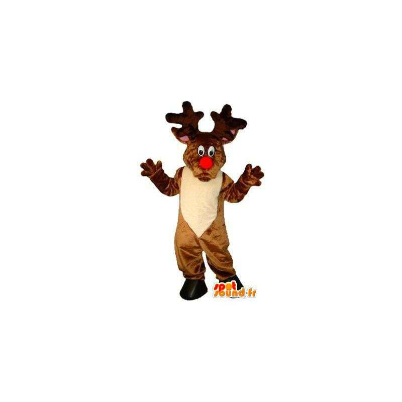 Mascot reno de Santa Claus con una nariz roja - MASFR004810 - Mascotas de Navidad