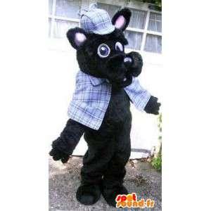 Sort hund maskot klædt i skotsk - Spotsound maskot