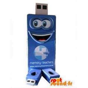 USB-stick-vormige mascotte blauwe reus - MASFR004813 - mascottes objecten