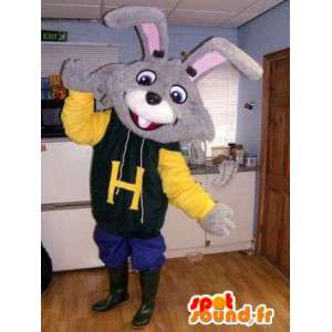 Gray rabbit mascot dressed fashion - Customizable all sizes - MASFR004818 - Rabbit mascot