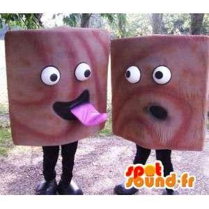 Mascottes de carré de chocolat. Pack de 2 mascottes