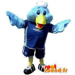 Bluebird mascot in sports outfit
