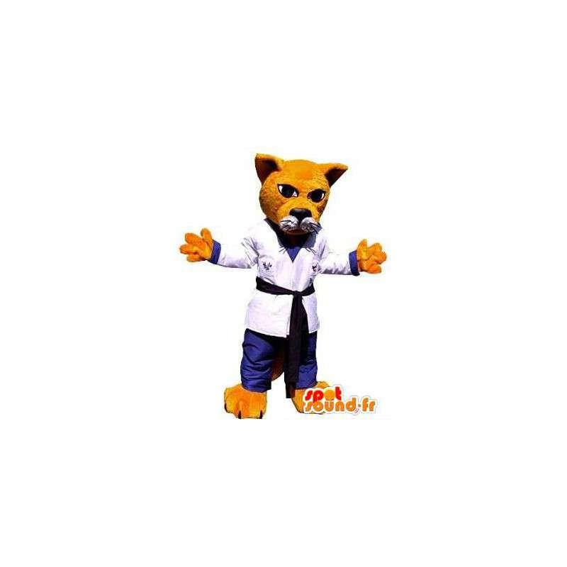 Orange cat mascot dressed in kimono. Karate suit - MASFR004824 - Cat mascots