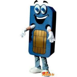 SIM card blue mascot. Costume SIM card