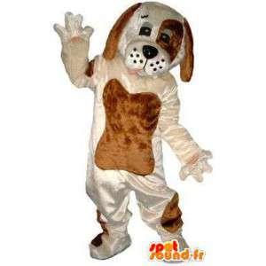 Hvit og brun hund maskot. Dog Costume - MASFR004829 - Dog Maskoter