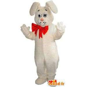 Coniglio mascotte bianca, con un nodo di farfalla rossa - MASFR004833 - Mascotte coniglio