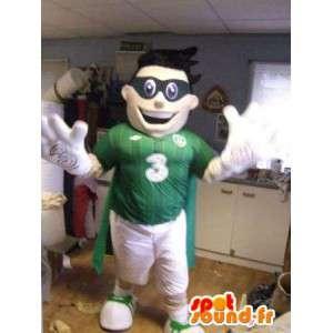 Mascot grün und weiß mit einer schwarzen Maske Sport - MASFR004835 - Sport-Maskottchen