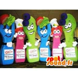 Food mascottes, 2 blauwe, 2 rozen, 2 groen. Verpakking van 6