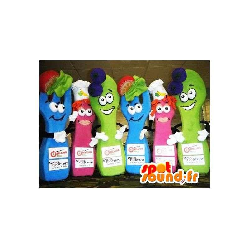 Mascottes alimentaires, 2 bleus, 2 roses, 2 vertes. Pack de 6 - MASFR004852 - Mascottes Fast-Food